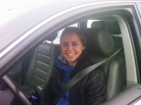 Längdskidåkerskan Anna Haag från IFK Mora passde på att testa!